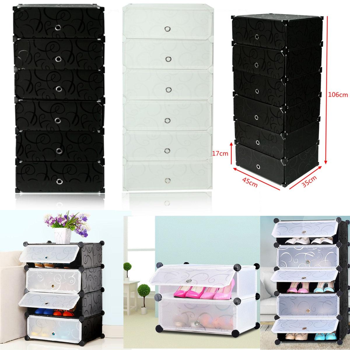 2 couleurs 6 armoires imbriquées bricolage bibliothèque de chaussures vêtements Cube stockage Rack étagères maison chaussure placard rangement organisateur