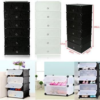 2 Colors 6 Cabinets Interlocking DIY Shoe Bookcase Clothing Cube Storage Rack Stand Shelves Home Shoe Closet Storage Organizer