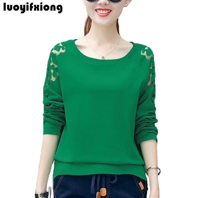 f01598ba4 Mode 2019 haut pour femme chemise à manches longues col rond femmes Blouses  lâche Patchwork dentelle Blosue Blusas décontracté grande taille ...