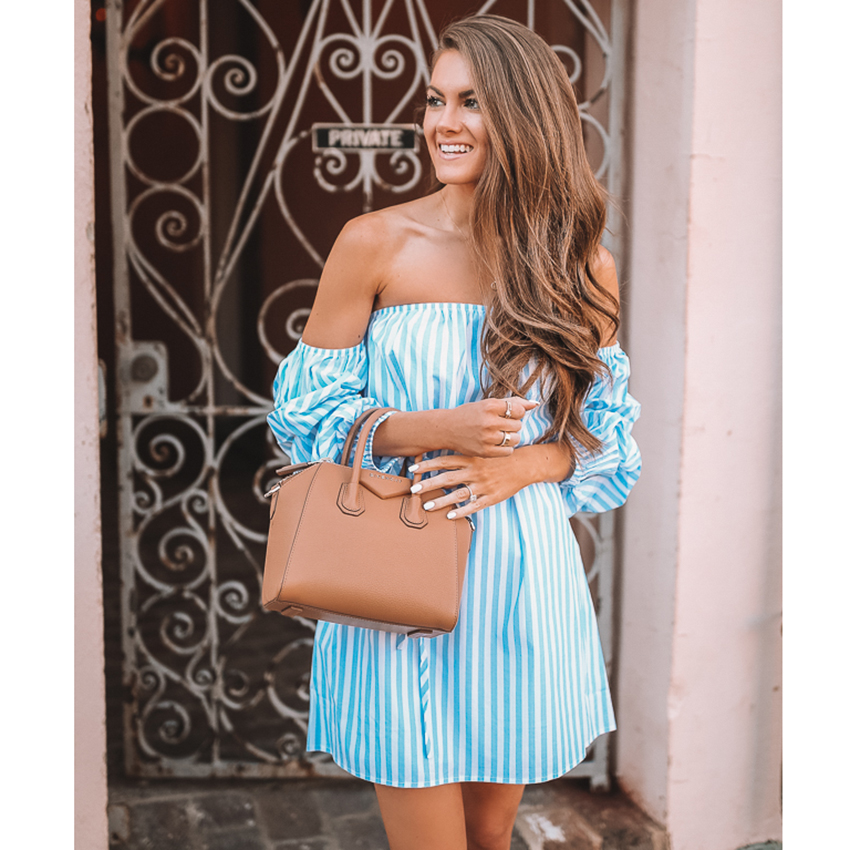 Off shoulder ruched puff sleeve summer dress Loose casual robe femme High waist sashes b ...