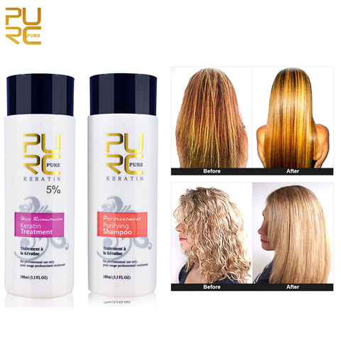 PURC 1 Set Formalin Brazilian Keratin Hair Treatment Conditioner and Protein Shampoo for Damage Hair Straightening Hair Repair Pakistan