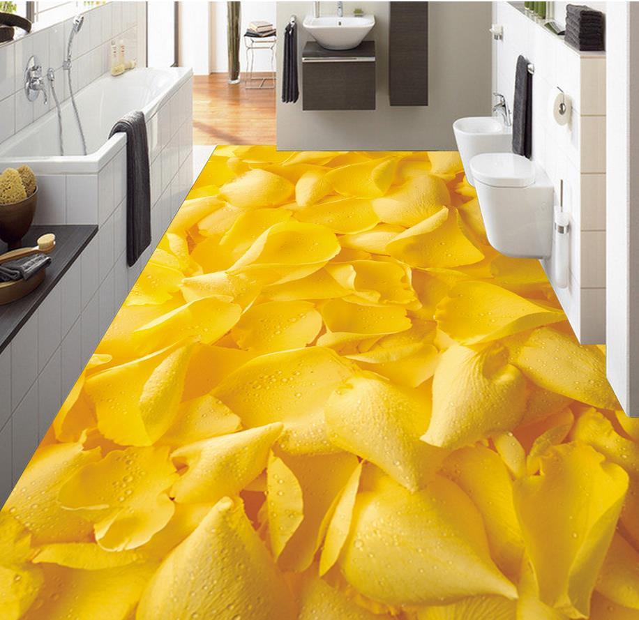 ФОТО Home Decoration waterproof wallpaper for bathroom wall Golden yellow roses 3D floor 3d pvc wallpaper