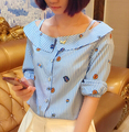 2016 Women Girls Fashion Blue White Striped Tops Off the Shoulder Half Sleeve Shirts Female Summer Blouses