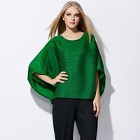 Changpleat Plus Size T-shirt das mulheres Miyake Plissado Moda solto bonito manga morcego Sólida O-pescoço feminino T-shirt Ocasional Preto