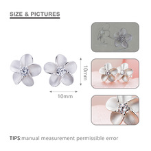 SA SILVERAGE Real 925 Sterling Silver Stud Earrings Trendy Rhinestones Earrings Fashion Jewelry For Women Flower Earring Female