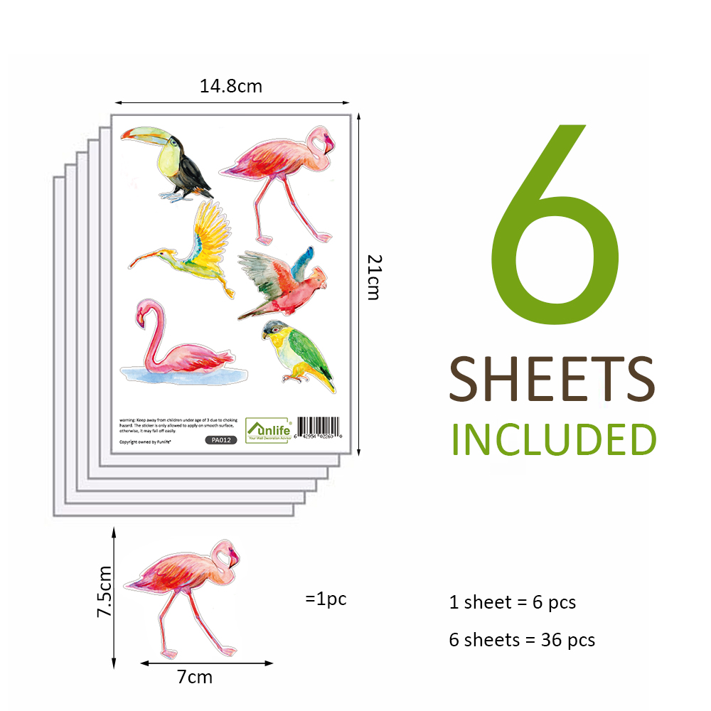 Funlife 1 lot6sheets 36pcs watercolor tropical birds decals wall sticker art wall poster decal for children room decors pa012 in wall stickers from home