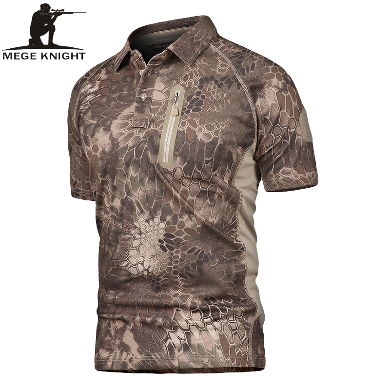 MEGE Summer Coolmax Breathable Fabric   Polo   For Men, Men's Brand Tactical Army SAWT Quick Dry   Polo   Shirt