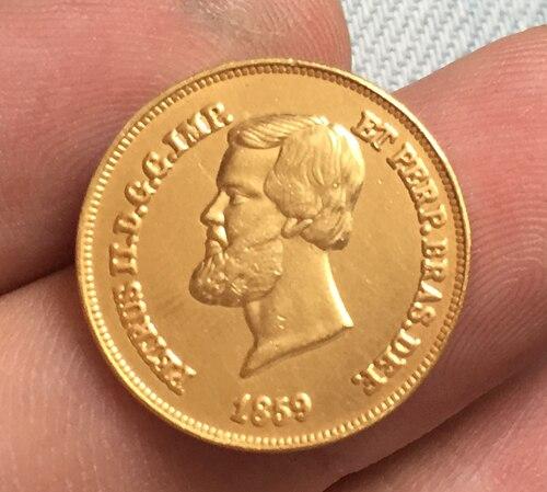 24-k покрытие-золото 1859 Бразилия 5000 Reis Монеты Скопируйте Бесплатная доставка 19.5 мм