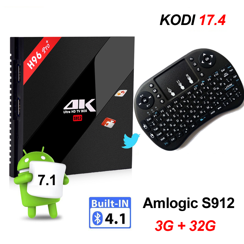 3G 32G Android 7.1 TV Box Amlogic S912 Octa Core 3GB 16GB H96 Pro 4K Smart Set Top AC Wifi TVbox Russian Hebrew i8 Air Mouse yokatv kb2 amlogic s912 tv box rii i8 white