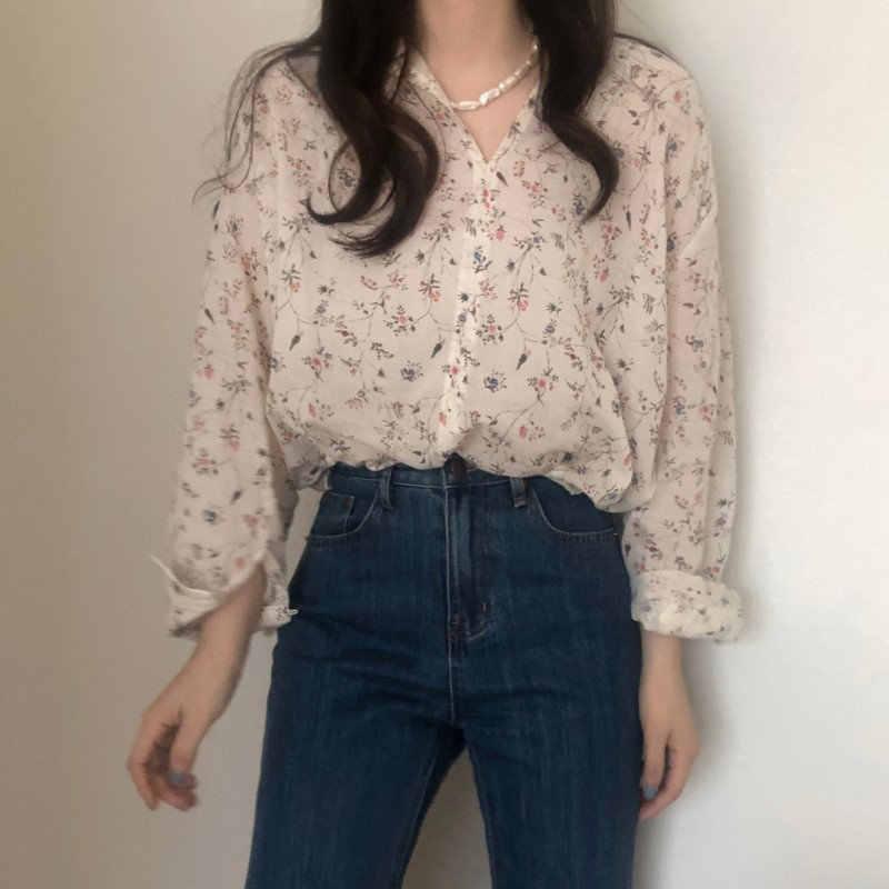 Hzirip 2019 dulce estampado sencillo flores Vintage suelto elegante Sexy cuello redondo de moda Casual de alta calidad mangas largas camisas sueltas
