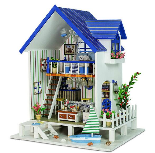 13018 Large Diy Wooden Doll House Miniature Furniture House For Dolls Toy Mode Building Kits Dollhouse Toys kids pretend play toys furniture for dolls wooden miniature dollhouse tree house with doll children doll room educational toy