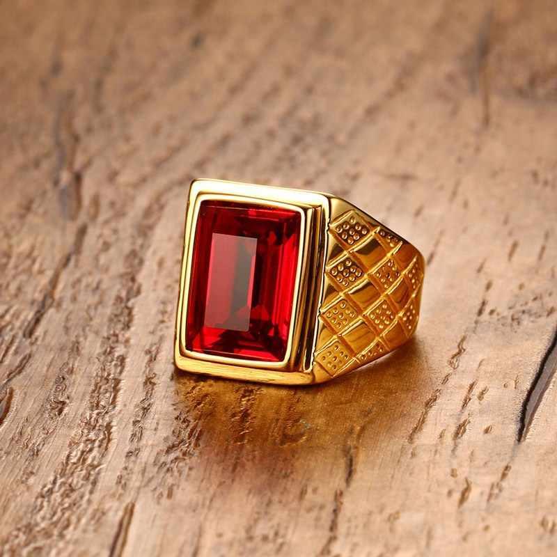 Meaeguet anel de cristal quadrado vermelho do vintage para homem ouro-cor de aço inoxidável legal geométrico rhombus anéis de noivado