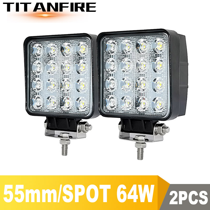 DS 4x4 LED Spot/Flood Work Light 9-30V Car 48W 6000LM 64W 8000LM Off Road Led Light Bar Vehicle SUV Car 12V 24V 6000K
