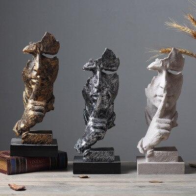 Nordique sculpture décoration rétro bureau salon ornement silence est or figure abstraite artisanat créatif résine cabochon