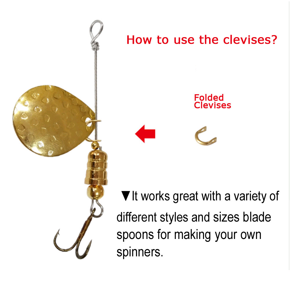 Clevis Clip-N-Spin for Spinners Blades /& Lures Easy Blade Change 2 Sizes,