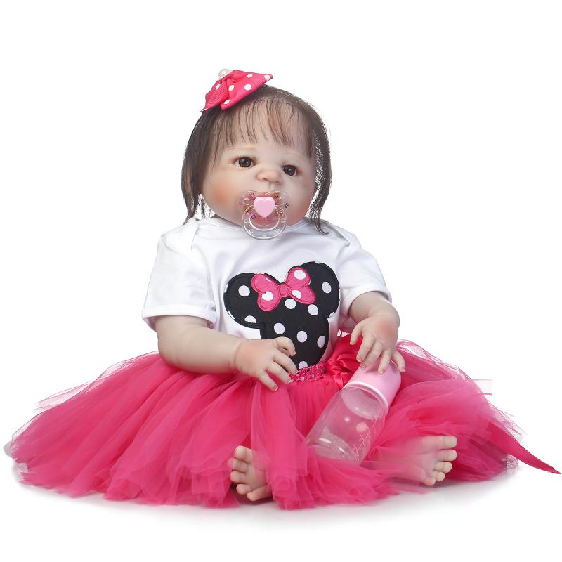 55cm Full Silicone Real Newborn Princess Toddler Babies Girls Dolls Reborn Baby Doll With Minnie Dress Like Bathe Toy for Gifts 55cm full silicone body reborn baby doll toys like real 22inch newborn boy babies toddler dolls birthday present girls bathe toy
