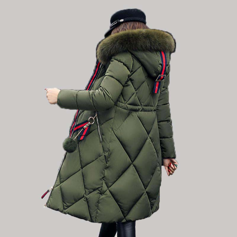 Woman Winter long Cotton Jacket Coat 2017 Fur Collar Hooded Long Parkas Cotton-padded Outerwear Loose Plus Size Overcoat QH0257 2016 new hot winter thicken warm woman cotton padded wadded jacket coat parkas outerwear hooded fur collar long plus size 3xxxl