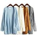 Harajuku 2017 nuevo abrigo de invierno gruesa suéter giro de corea Niñas larga sección de manga larga cardigan de punto