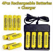 Новинка 2017 года 4 шт. бренд 18650 Батарея 3.7 В 9900 мАч литий-ионная аккумуляторная батарея для сотового 18650 батарея + интеллектуальное зарядное зарядное устройство