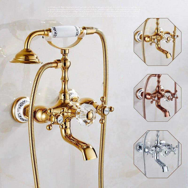 Antique copper bathtub faucet shower bathtub faucet shower faucet retro suit European hot and cold mixer tap