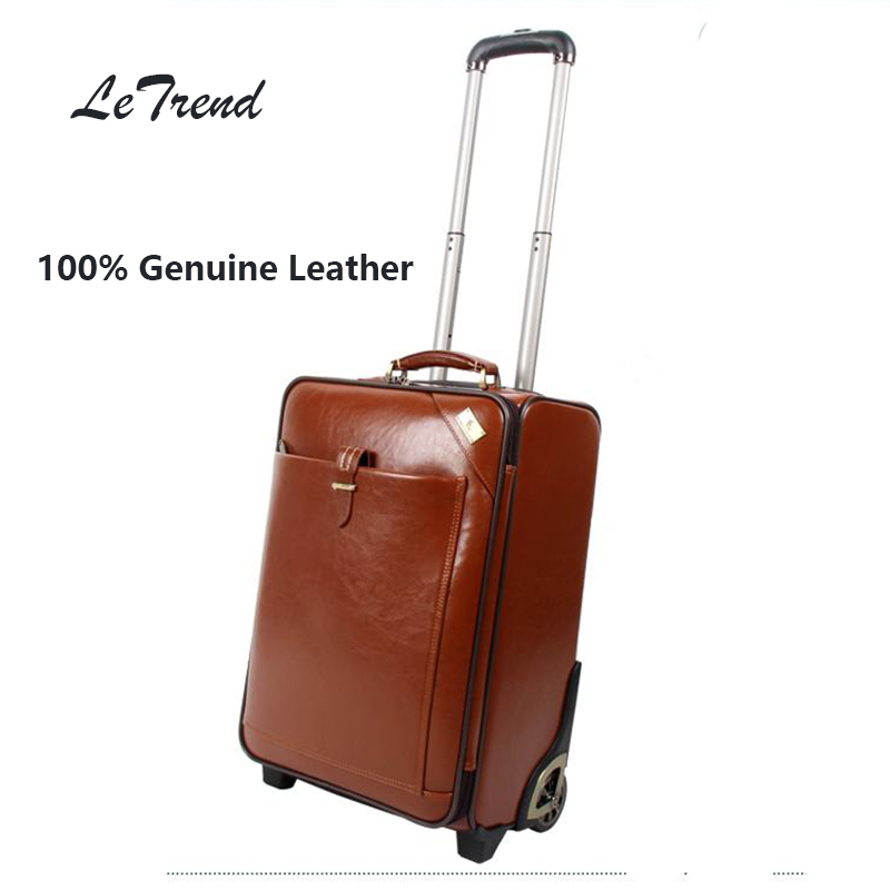 LeTrend Cowhide Rolling Luggage Vintage Suitcases Wheel Genuine Leather Travel Duffle Men Carry On Trolley Retro Cabin Trunk free shipping original rolling wheel axis kit parrot minidrones rolling spider parts genuine