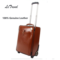 LeTrend Cowhide Rolling Luggage Vintage Suitcases Wheel Genuine Leather Travel Duffle Men Carry On Trolley Retro