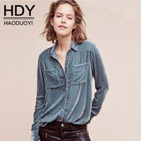 HDY Women Casual Blouses Long Sleeve Turn Down Collars BF Style Blouse Shirts Sexy Velvet Blouse