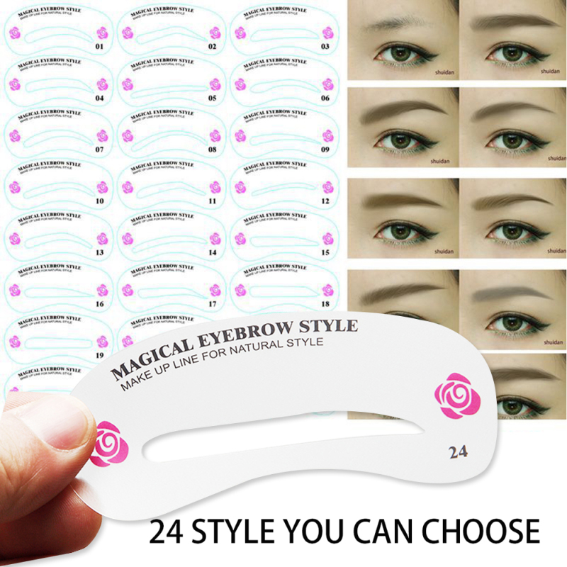 Great eyebrow guide template images 24pcs lot plastic eye brow magical eyebrow style stencils gallery eye makeup ideas 2018 maxwellsz