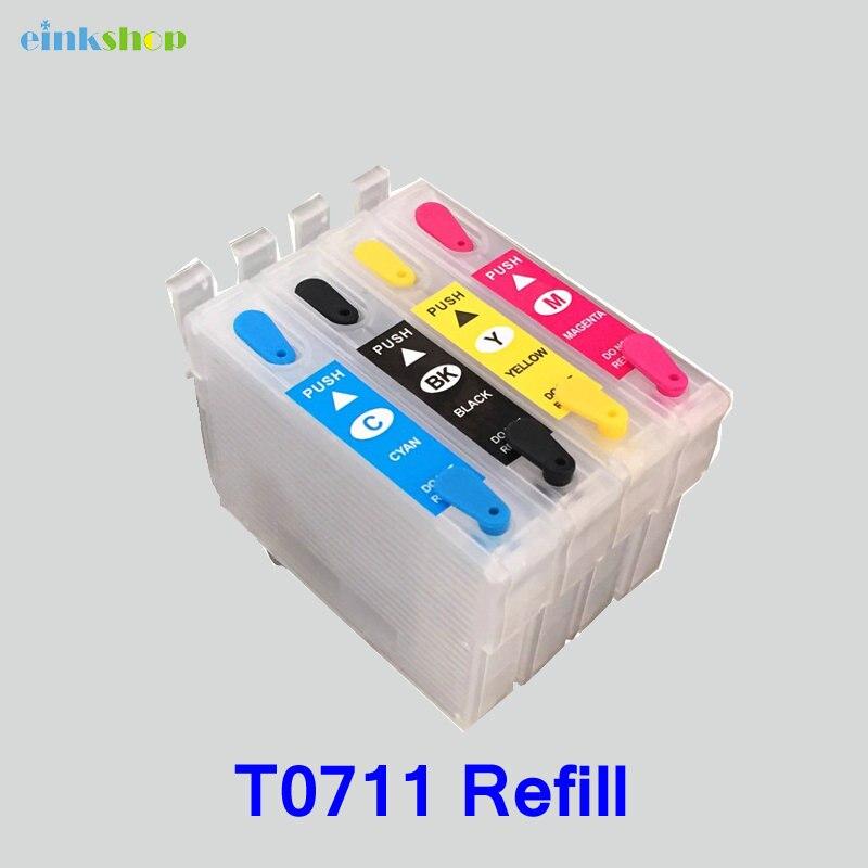 1 conjunto de tinta t0711 cartucho de tinta recarregáveis Para Epson Stylus D120 D78 D92 DX4000 DX4050 DX4400 DX4450 t0711 t0712 t0713 t0714