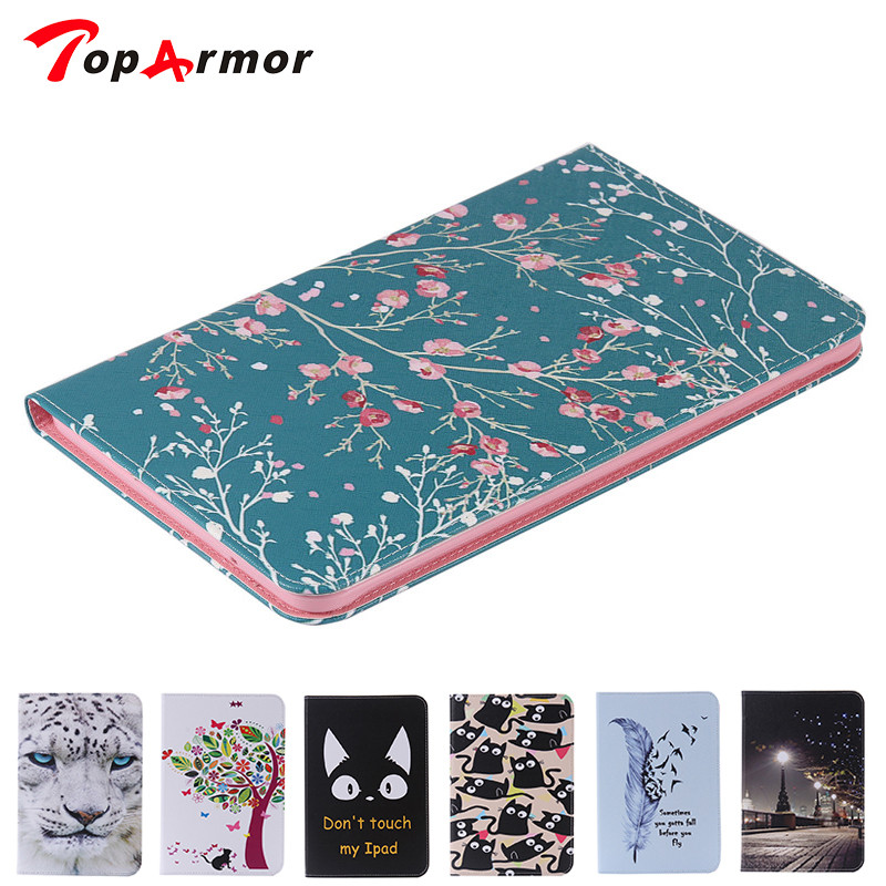 TopArmor Print Case for coque Samsung Galaxy Tab E 9.6 T565 T561 Case for Samsung T560 T561 9.6 inch Cover Stand Case with Card