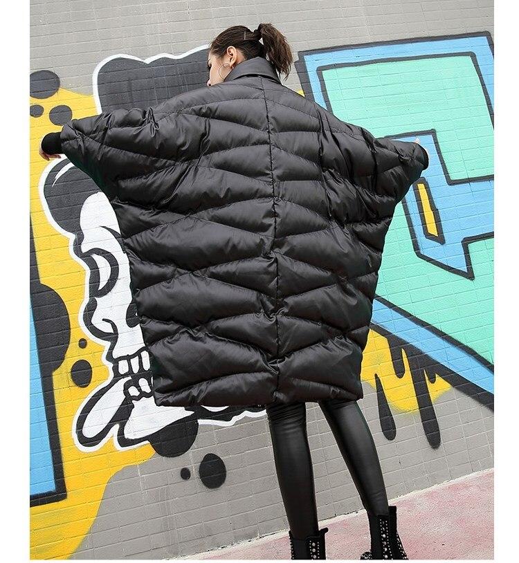 Base rembourré Mode De Streetwear Lâche Veste Parka Coton Noir Hiver Longues Décontracté À Manches Manteau Femmes Surdimensionné 8ZHBwqP