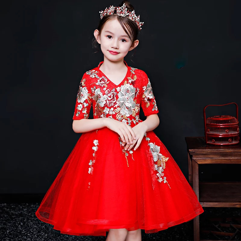 2018 Autumn Winter New Baby Girls Red Color Embroidery Flowers Birthday Wedding Party Prom Mesh Dress Kids Children Dance Dress 2018 new korean sweet autumn summer children baby birthday wedding party prom dress kids girls pink color flowers pageant dress