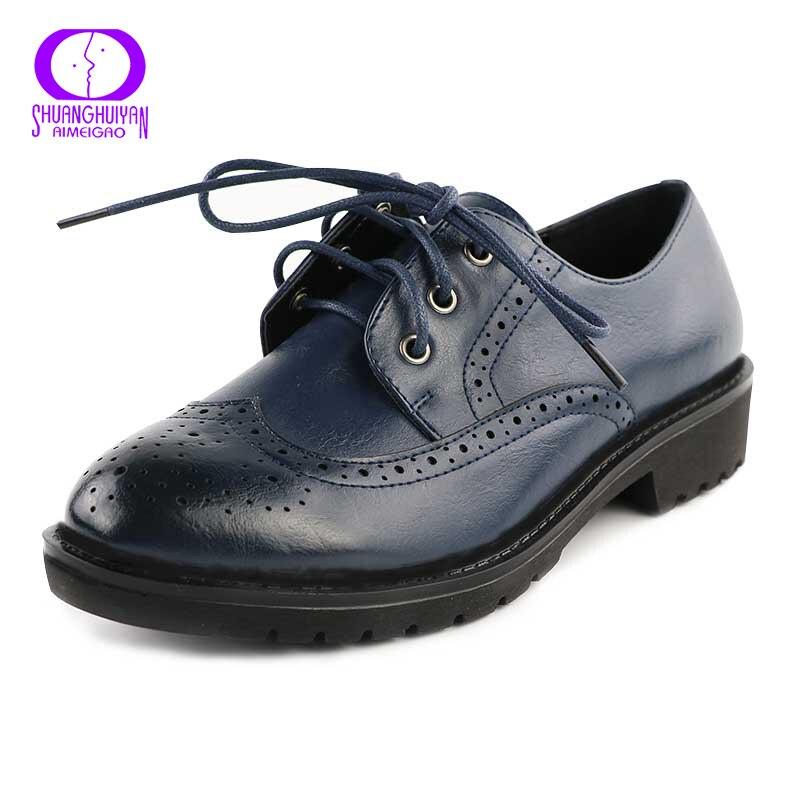 Vintage Oxford Women Shoes Flats Fashion British Style Cut Out Women Oxfords Blue Shoes Casual