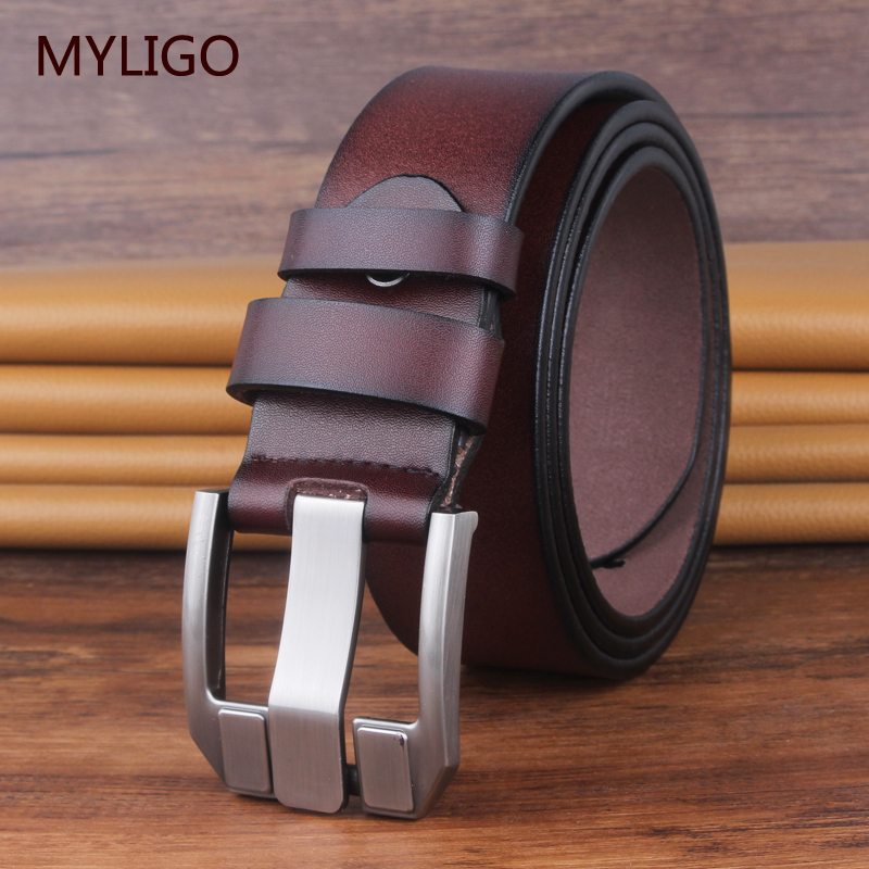 mens high quality cow genuine leather   belts   2019 hot sale strap fashion new jeans adjustable Black Buckle big size 140 150 16