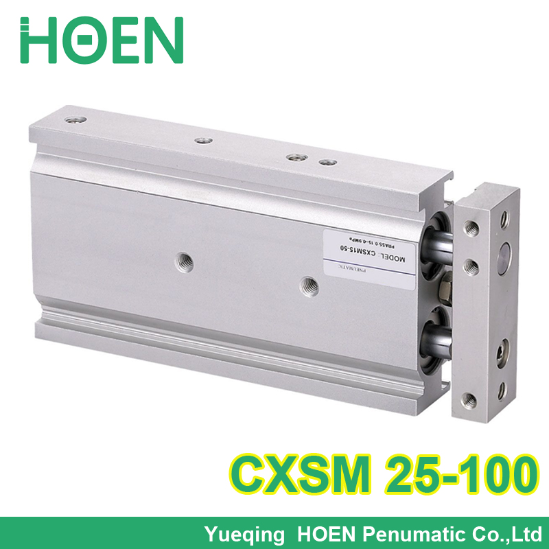 CXSM25-100 High quality double acting dual rod air pneumatic cylinder CXSM 25-100 25mm bore 100mm stroke with slide bearing cxsm25 10 cxsm25 15 cxsm25 20 cxsm25 25 smc dual rod cylinder basic type pneumatic component air tools cxsm series have stock