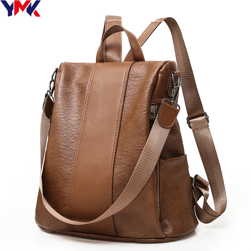 YMK Brand  Vintage Leather Backpack Women School Backpacks For Teenager Girls Casual Soft Large Capacity Travel Shoulder bags jmd backpacks for teenage girls women leather with headphone jack backpack school bag casual large capacity vintage laptop bag