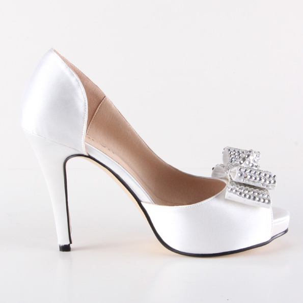 Handmade white D'orsay bow heel rhinestone diamond crystal wedding party prom pumps bridal banquet evening shoes small big size