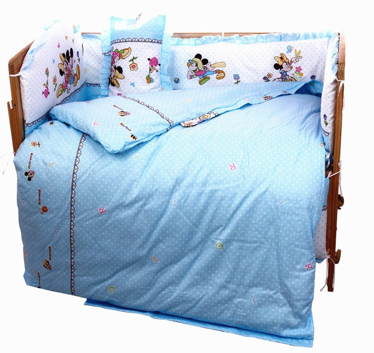 Фото Promotion! 7pcs Cartoon kids baby Bedding sets crib sets Comforter cot quilt (4bumper+duvet+matress+pillow). Купить в РФ