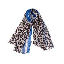 Pañuelos de Otoño de verano Vintage 2018, chal con estampado de leopardo para mujer, bufandas de gasa nuevas de color rojo y azul, accesorios para 1 pieza