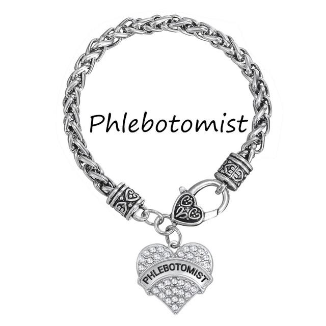My Shape Phlebotomist Design Crystal Heart Charm Bracelet Whole Mix Order