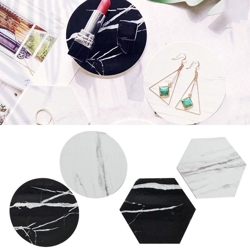 European Style Marble Stripes Ceramic Coaster Round Porcelain