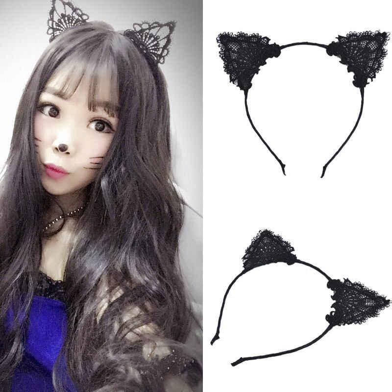 ผู้หญิงผมยืดหยุ่น headbands แฟชั่นลูกไม้สีดำแมวหู Headband ถ่ายภาพแต่งงานภาพสไตล์ผม Hoop อุปกรณ์เสริมผม