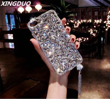 XINGDUO Luxury Bling 3D Jewelled Diamond Soft Back Pendant Phone Case Cover For iPhone 5 5c SE 6 6s 7 8 Plus X XR Xs Max shell