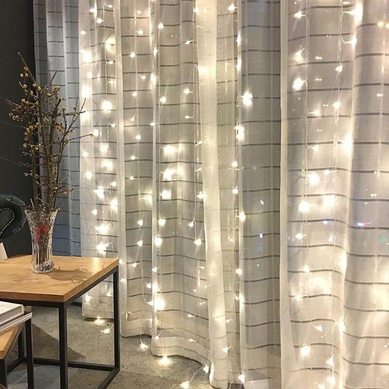 3X3 m 300 lámpara LED ornamentos cortina Año Nuevo luces decoraciones De Navidad para fiesta en casa boda decoración del hogar enfeitas De Natal