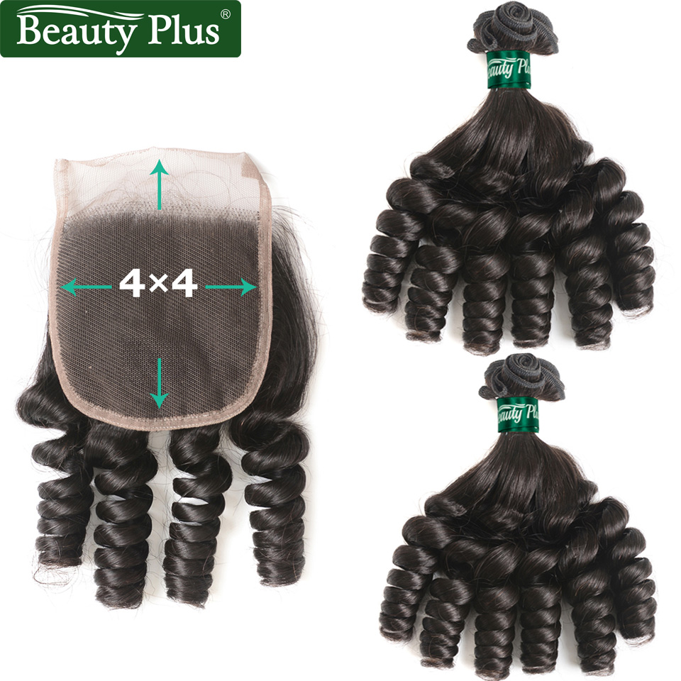 Funmi Hair 2 Bundles With Closure Middle Brown 1B African Curly Nonremy Beauty Plus Brazilian Hair