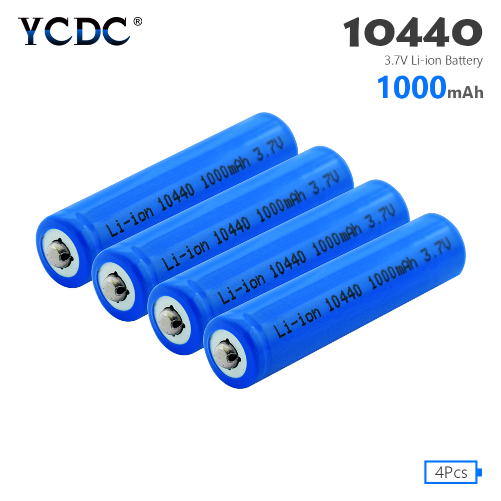 <font><b>1/2</b></font>/4 Pcs 10440 <font><b>AAA</b></font> Size 3.7V 1000mAh 10440 Lithium Li-ion Battery Button Top For Radio Gamepad LED Light Flashlight Clock image