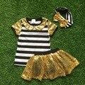 Новые Девушки летние дизайн короткими рукавами костюмы девушки топ с блестками юбки дети бутик одежды с оголовьем