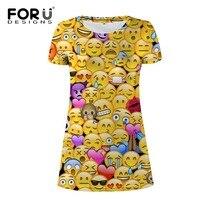 שמלות מקרית קיץ אופנה נשים dress עבור נוער הילדה forudesigns 3d מצחיק emoji פנים של o צוואר slim נשים mujer vestidos 2017