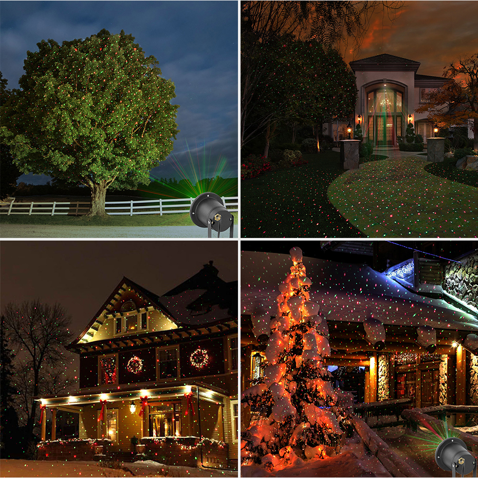 Alienígena remoto de Navidad al aire libre RG luz láser proyector muestran impermeable luces para vacaciones de Navidad árbol decoraciones de iluminación - 6