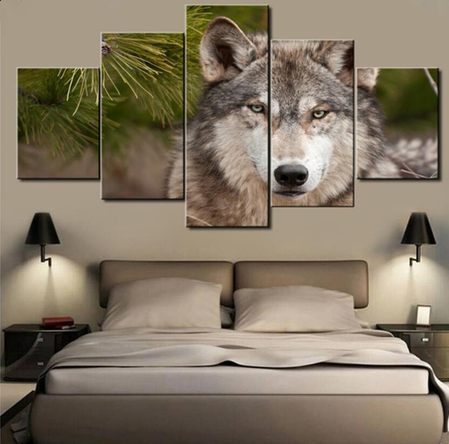 5pcs,5D Diy Diamond Painting Diamond Embroidery Wolf Snow Diamond Painting Mosaic Pictures Rhinestones Crafts Animal Needlework
